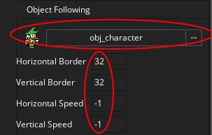 Setting options for the Object Following in a Viewport in GameMaker Studio