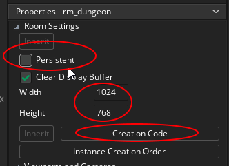Persistent, Width and Height properties and Creation Code for a Room in GameMaker Studio