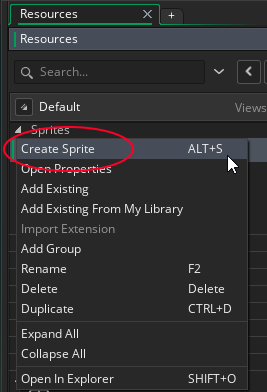 Creating a Sprite in GameMaker Studio