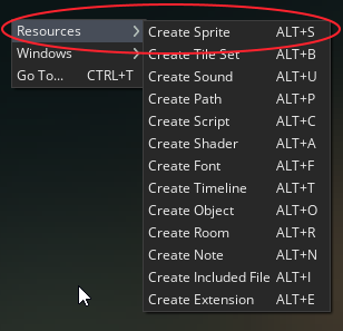 Creating a Sprite in GameMaker Studio by right clicking the workspace.